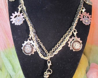 Golden Gears Charm Necklace