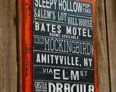 Halloween Subway Art Sign, Halloween Decoration, Fall Mantle, Haunted House Decor, Wood Sign, Halloween Party Favor, Hostess Gift Fall Decor