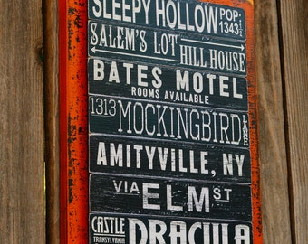 Halloween Subway Art Sign, Halloween Decoration, Fall Mantle, Haunted House Decor, Wood Sign, Halloween Party Favor, Hostess Gift Fall Decor