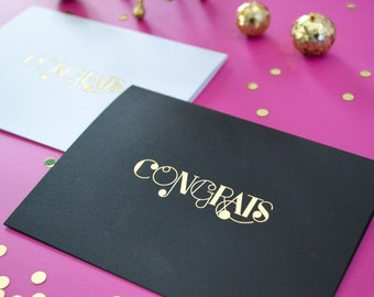 Foil Stamped Congrats card with Envelope, 1 CT. Gold, Modern Typography