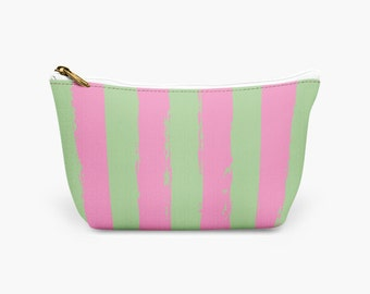 Beautiful Pink and Green Striped Makeup Bag -  Designer Cosmetic Bag - Bridesmaid Gift - Gift for Her Makeup Bag - Makeup Pouch
