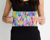 Colorful Bright Abstract Painting Print Fabric Accessory Clutch // Handbag // Makeup Pouch. Comes in two perfect sizes. Created from my art.