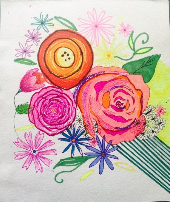 Colorful neon bright summer inspired floral watercolor + ink drawibg. Unique multimedia piece with bright florals and sharp lines.