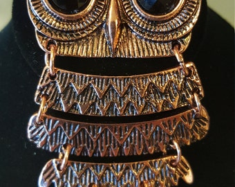 Owl Be Seeing You - Vintage Segmented Copper Tone Owl Necklace