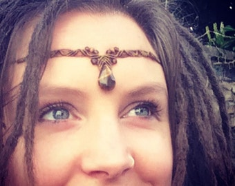 Tigers Eye Tiara, Circlet, Necklace, Macrame