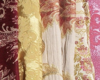 Bundle of Vintage French Fabric Pieces material Blocks Woven Damask Linen Silks Textile