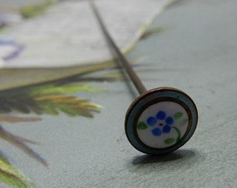 Antique Enamel Bluebonnet Hat Pin    NAZ45