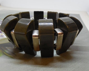 Marbled Green Spinach Bakelite & Silver Band Tribal Stretch Bracelet