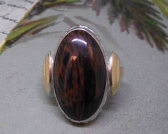 Sterling & 10k Gold Chocolate Agate Cabochon Ring Size 5.1/2    MCA47