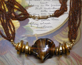 MIRIAM HASKELL Copper Art Glass & Seed Bead Necklace