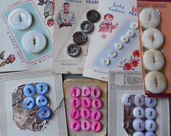 7 Cards Vintage Mother of Pearl Shell Buttons