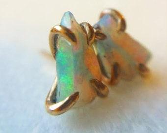 ETHIOPIAN OPAL & GOLD stud earrings
