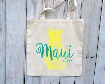 10+ Pineapple Maui Hawaii Oahu Custom Canvas Wedding Tote Bags - Eco-Friendly Natural Cotton Canvas