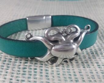 Turquoise Leather Octopus Bracelet - Leather Jewelry - Beach Bracelet