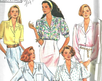 Simplicity Pattern 9857 Women's Blouse  Multi-Size 6 to 14 1990 Vintage