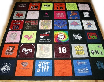 36 T-Shirt Memory Quilt With Sashing *** FREE SHIPPING *** Superior Work *** Quick Turn Around