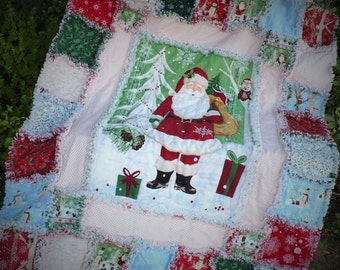 LAST CHANCE Christmas Rag Lap Quilt - Woodland Holiday Santa Claus Snowmen Owls in Red Forest Green Sky Blue Cozy Throw Ready to Ship