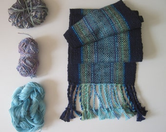 Handwoven Navy Blue Ocean inspired Scarf, size small Kids