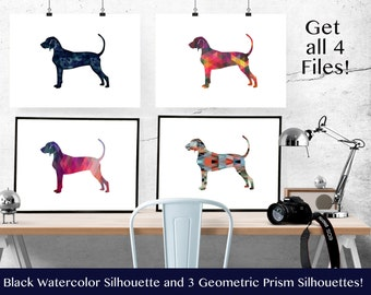 Bluetick Coonhound - Hound Dog - Geometric Pattern Silhouette from Breed Collection - Digital Download Printable - Frameable 8x10