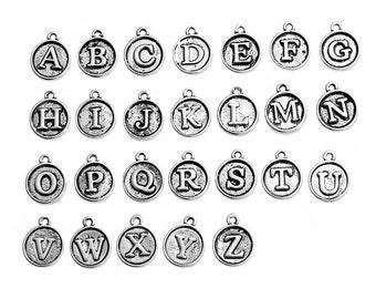 26pcs. Antique Silver Circle Alphabet Letters Charms Pendants - A to Z - 15mm x 12mm