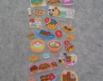 Mixed Cute Pop Puffy PVC Japanese Foods Stickers