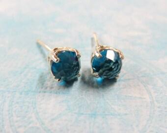 Topaz Earrings - London Blue Topaz Post Earrings - Rose Cut London Blue Topaz Sterling Silver Posts