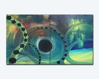Matrix - Abstract painting - Original- large - ( 24'' x 36''  x1.5'' deep ) DanielBrunosArts