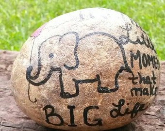 Painted Stone Rock Paperweight handpainted elephant little things life quote fieldstone inspirational gift