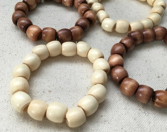 Natural wood round beaded bracelet | light or dark -you choose | boho chic | great for layering