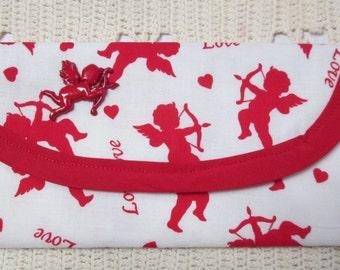 Valentine, Bags & Purses, Red Cupid Love Fabric, Wallet Money clip 7 x 3 Girlfriend, Sweetheart, Wife, Children Gift Handbag Accessory