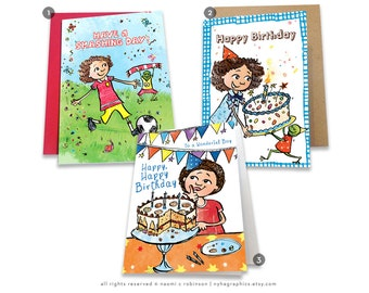 Birthday Cards for Boys, Multicultural Cards, Happy Birthday Card, Mixed Race Greeting Card, for Childrens, for Boys, Birthday Card, African