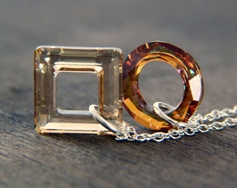 Geometric Crystal Necklace - Sterling Silver Necklace - Circle Necklace - Square Necklace - Amber Crystal - Glitter Necklace