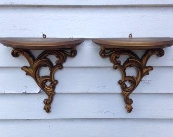 Vintage Set of Two Shelves Ornate Hollywood Regency Antique Gold Wood Sconce Shelves Plate Shelf