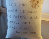 Peter Pan pillow, Tinkerbell nursery, throw pillow, J M Barrie quote, childrens literature, baby shower gift, cotton canvas, nursery cushion