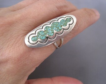 Vintage Sterling Turquoise Chip Scallop Ring