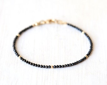 Delicate Black Spinel Bracelet with Tiny Gold Dots / Sterling Silver / 14K Gold Filled / Layering Stackable Gemstone Bracelet