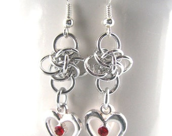 30% OFF SALE Heart of Persephone Chainmaille Earrings