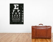 Extra Large Eye Chart Black and White Gallery Wrapped Canvas Wall Art 30 inches tall by 20 inches wide