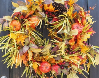 Fall Harvest grass pumpkin gourd leaves wreath