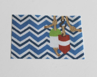 Miniature Nautical Chevron and Buoys Doormat or Rug 1:12 Scale for Dollhouse