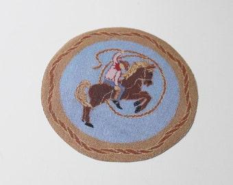 Miniature Buckaroo Cowboy Dollhouse Round Rug 1:12 Scale