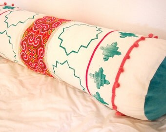 Boho cushion with vintage Hmong fabric,ethnic style pillow with handmade cross stitch hemp fabric and blockprinting.