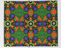Zinnia and larkspur mandala fleece blanket, nature photograph, green, orange, blue garden flower, floral home decor, bedroom decor, bedding