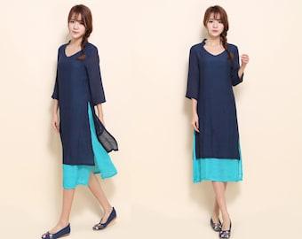 V- Neckline Linen Two Layered Dress/ More Color Schemes/ RAMIES