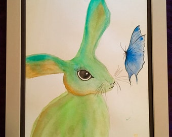 Bunny & Butterfly Original Watercolor Painting