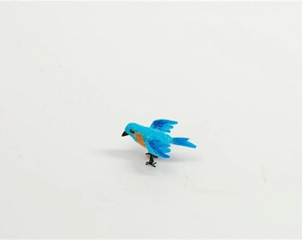 Authentic Feathered wild Blue Bird In Flight OOAK