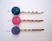 Sparkly Cabochon hair slides - You choose Pink, Blue, and Purple acrylic druzy simple fun girl embellish decorative hair accessories