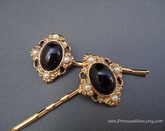 Vintage earrings hair slides - Victorian renaissance chic black onyx white pearl ornate gold jeweled embellish decorative hair accessories