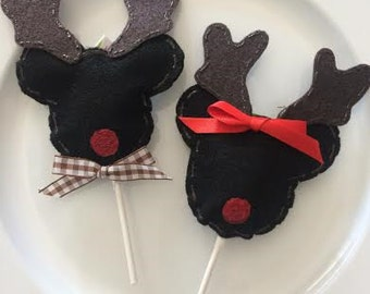 Set of (12) REINDEER MICKEY/MINNIE Mouse Lollipop Favors