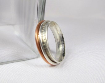 Small Double Spinner Ring, Copper and Silver